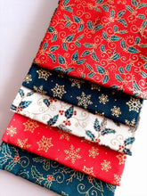 Load image into Gallery viewer, Christmas Traditional Holly & Snowflakes Gold Metalic Fat Quarter Bundle  100% Cotton