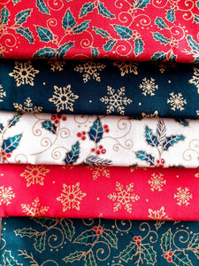 Christmas Traditional Holly & Snowflakes Gold Metalic Fat Quarter Bundle  100% Cotton