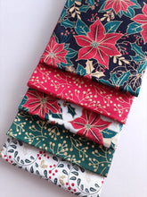 Load image into Gallery viewer, Christmas Traditional Poinsettia Gold Metalic Fat Quarter Bundle  100% Cotton