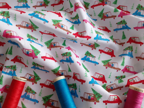 Christmas Town Cars Multi Color on a White Background 100% Cotton