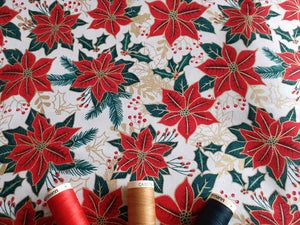 Christmas Traditional Poinsettia on a Cream Background 100% Cotton
