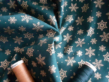 Load image into Gallery viewer, Christmas Traditional Snowflakes Metalic on a Green Background 100% Cotton