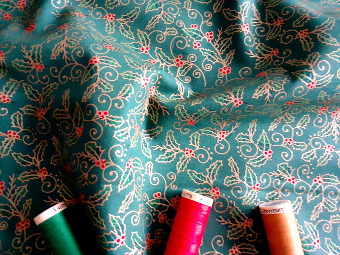 Christmas Traditional Holly Metalic on a Green Background 100% Cotton