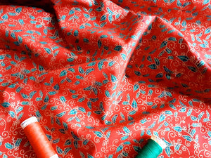 Christmas Traditional Holly Metalic on a Red Background 100% Cotton
