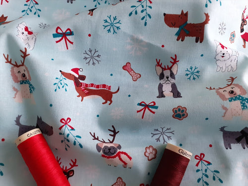 Christmas Cute Dogs Mistletoe & Snowflakes on a Mint Background 100% Cotton