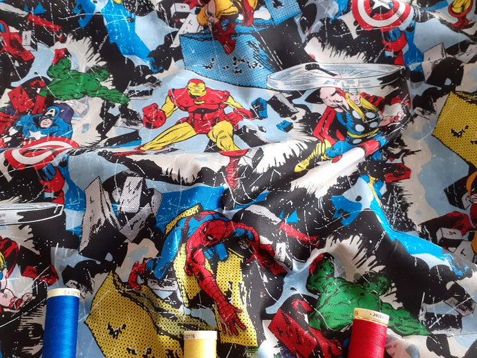 Marvel Retro Smashing Superheroes Multi Color 100% Cotton
