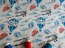 Load image into Gallery viewer, Vintage Aeroplanes Hot Air Balloons & Parachutes Digital Print on a White Background 100% Cotton