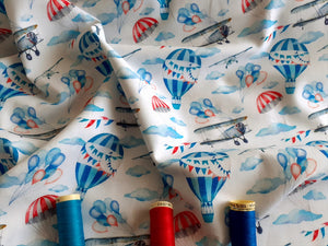 Vintage Aeroplanes Hot Air Balloons & Parachutes Digital Print on a White Background 100% Cotton