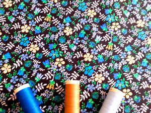 Retro Flowers Blue, Green & Gold Mix on a Black Background 100% Cotton