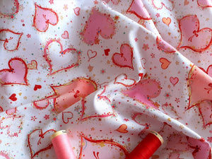 Quilting Treasures With Love Hearts Pink on a White Background 100% Cotton