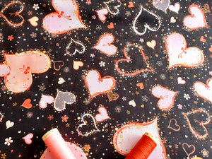 Quilting Treasures With Love Hearts Pink on a Black Background 100% Cotton