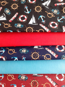 Sailing Boats Lighthouses & Nautical Notions Fat Quarter Bundle 100% Cotton