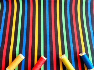Bright Multi Colour Stripe 8mm on a Black Background  100% Cotton