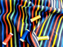 Load image into Gallery viewer, Bright Multi Colour Stripe 8mm on a Black Background  100% Cotton