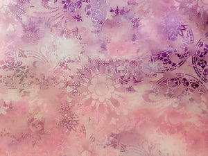 Dreamscapes II Circles & Flower Heads on a Lilac & Lavender Background  100% Cotton