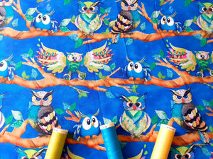 Go Owl Out Goo Owl Multi Color on a Limb By Connie Haley  Digital Print 100% Cotton