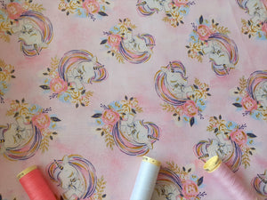 Unicorn Utopia Unicorns & Flowers By 3 Wishes Pink Royal Blue & Metalic Gold on a Mottled Pink Background 100% Cotton