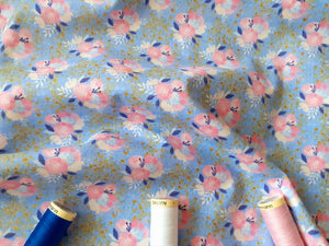 Unicorn Utopia Flowers By 3 Wishes Pink Royal Blue & Metalic Gold on a Sky Blue Background 100% Cotton