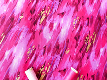 Load image into Gallery viewer, Metalic Fushion Gold Colorful Brush Strokes By 3 Wishes 100% Cotton