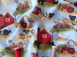 On The Farm Landscape By Beth Albert on a light blue mottled Background 100% Cotton