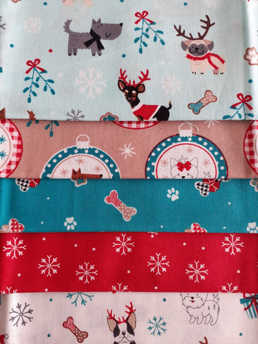 Christmas Freddie & Friends Cute Little Dog Mix Fat Quarter Bundle  100% Cotton