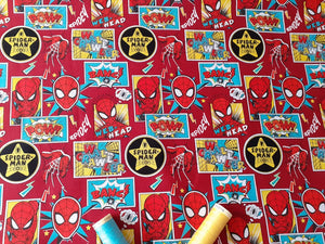Spiderman Outside in the Box DC Comics Superhero on Red Background 100% Cotton Licenced