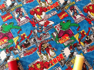 Marvel Comic Burst DC Comic Superhero's on Blue Background 100% Cotton Licenced