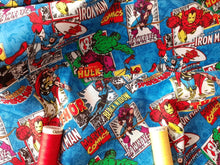 Load image into Gallery viewer, Marvel Comic Burst DC Comic Superhero's on Blue Background 100% Cotton Licenced