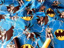 Load image into Gallery viewer, Batman on Rope & Logo Superhero on Blue Background 100% Cotton Licenced