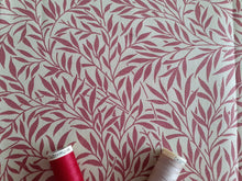 Load image into Gallery viewer, Linen Digital Print Burgundy Vine on a Natural Background  80% Cotton 20% Polyester