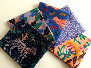Tropical Flowers & Leopards Fat Quarter Bundle 100% Cotton