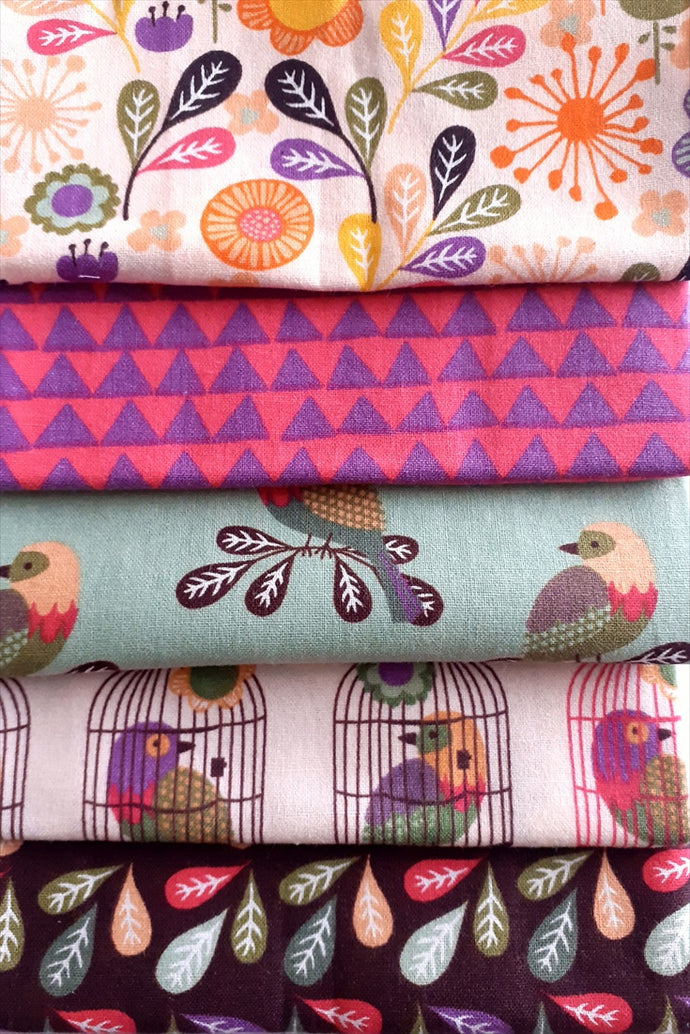 Little Meadow Birds Flowers & Feathers Fat Quarter Bundle 100% Cotton