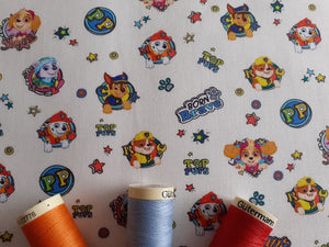 Disney Paw Patrol Characters Multi Color on a Ivory Background Licensed 100% Cotton