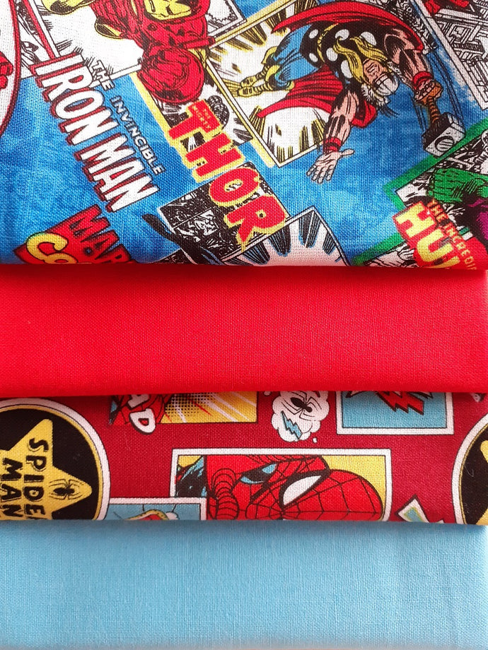 Spiderman Outside in the Box & Marvel Comic Burst DC Fat Quarter Bundle-Liscenced 100% Cotton