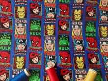 Load image into Gallery viewer, DC Comic Marvel Characters on a Royal Blue Background - Licensed 100% Cotton