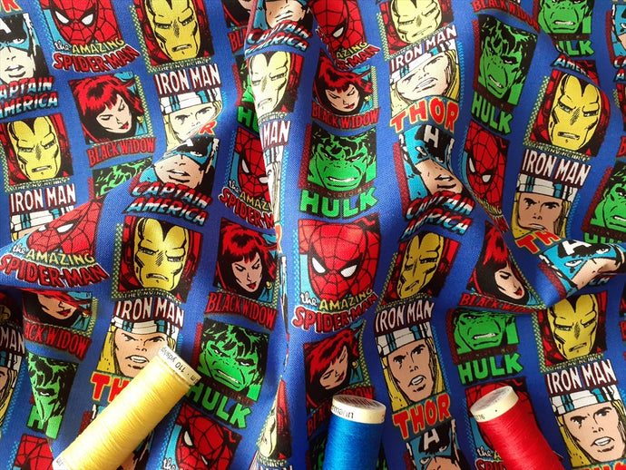DC Comic Marvel Characters on a Royal Blue Background - Licensed 100% Cotton