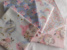 Load image into Gallery viewer, Unicorn Utopia Rainbows on Clouds By 3 Wishes Pink Blue & Metalic Gold Fat Quarter Bundle 100% Cotton
