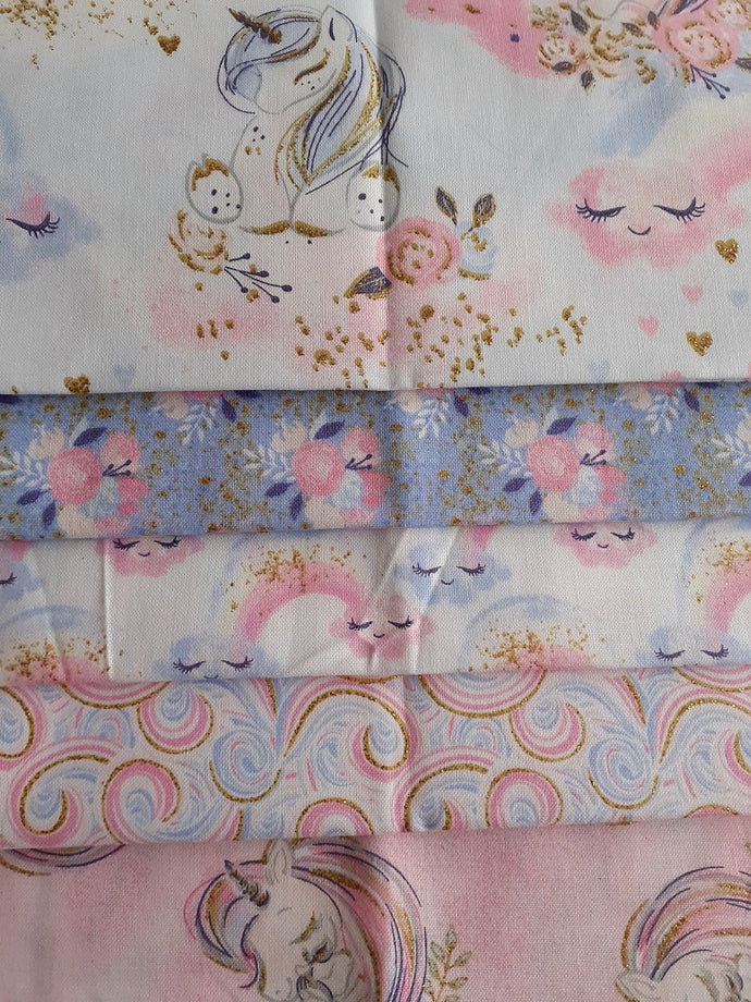 Unicorn Utopia Rainbows on Clouds By 3 Wishes Pink Blue & Metalic Gold Fat Quarter Bundle 100% Cotton