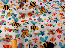 Load image into Gallery viewer, Happy Bugs Bees Butterflies Ladybirds & Caterpillars on a Cream Background  100% Cotton