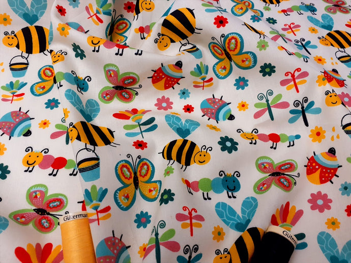 Happy Bugs Bees Butterflies Ladybirds & Caterpillars on a Cream Background  100% Cotton