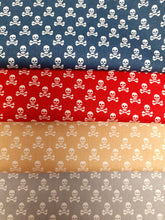 Load image into Gallery viewer, Ditsy Skulls & Crossbones Navy Beige Silver & Red Mix Fat Quarter Bundle 100% Cotton