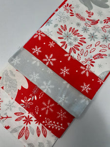 Christmas Doves & Snowflakes Fat Quarter Bundle  100% Cotton