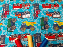 Load image into Gallery viewer, Tonka Trucks on a Turquoise Background 100% Cotton Licensed