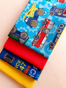Tonka Trucks Building & Bright Plain Fat Quarter Bundle 100% Cotton