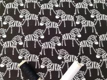 Load image into Gallery viewer, Zebras Black & White on a Black Background 100% Cotton