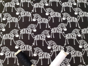 Zebras Black & White on a Black Background 100% Cotton