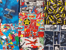 Load image into Gallery viewer, Star Wars Spiderman Batman & Marvel Comic Mix 7 Licenced Prints Fat Quarter Bundle 100% Cotton