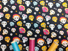 Load image into Gallery viewer, Day of the Dead Skulls on a Black Background Digital Print 100% Cotton