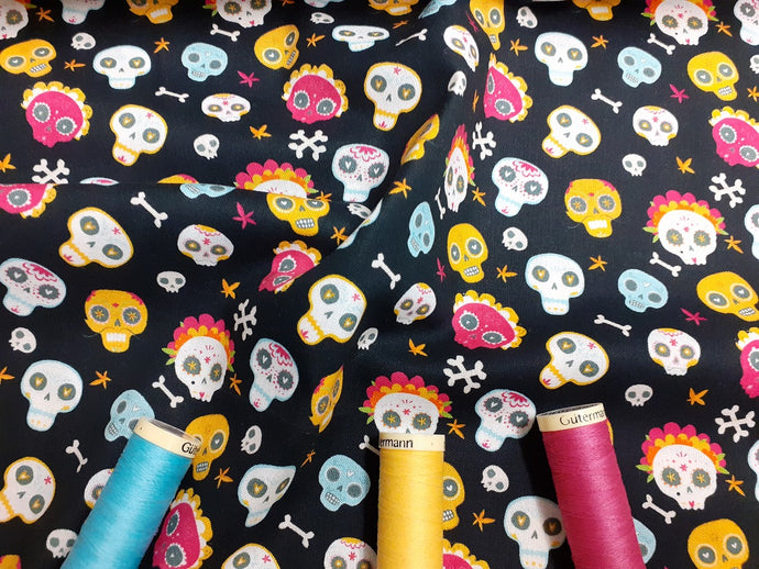 Day of the Dead Skulls on a Black Background Digital Print 100% Cotton