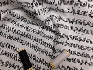 School Musical Notes Black on a White Background Digital Print 100% Cotton